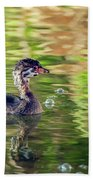 Pied-billed Grebe Bubbles Beach Towel