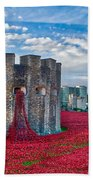 Poppies At The Tower Of London Beach Towel
