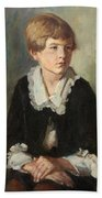 Portrait Of A Seated Child Beach Towel