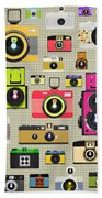 Retro Camera Pattern Beach Towel by Setsiri Silapasuwanchai