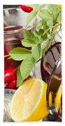 Rosehip Tea With Honey And Lemon In Glass Beach Towel