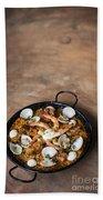 Seafood And Rice Paella Traditional Spanish Food Beach Towel