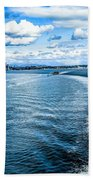 Seattle Washington Cityscape Skyline On Partly Cloudy Day Beach Towel