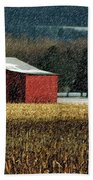 Snowy Red Barn In Winter Beach Towel