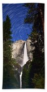 Star Trails At Yosemite Falls Beach Towel