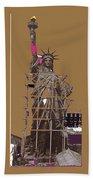 Statue Of Liberty Being Built 1876-1881 Paris Collage Pierre Petit Beach Towel
