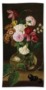 Still Life With Flowers In A Glass Vase And Cherry Twig Beach Towel