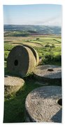Summer Landscape Image Of Millstones On Top Of Stanage Edge In P Beach Towel