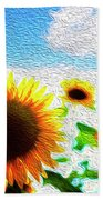 Sunflowers Abstract Beach Towel