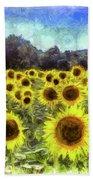 Sunflowers Van Gogh Beach Towel