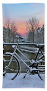 Sunset In Snowy Amsterdam In The Netherlands In Winter Beach Towel