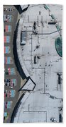 Supermarket Roof And Many Cars In Parking, Viewed From Above. Beach Towel
