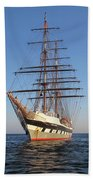Tall Ship Anchored Off Penzance Beach Towel