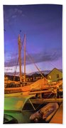 Tall Ships And Yahts Moored In Newport Harbor Beach Towel