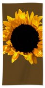 Sunflower Stretching On Brown Beach Towel