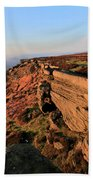 The Gritstone Rock Formations On Stanage Edge Beach Towel