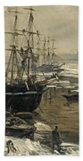 The Thames In Ice Beach Towel