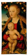 The Virgin And Child Under An Apple Tree Beach Towel