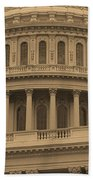 United States Capitol Building Sepia Beach Towel