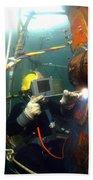 U.s. Navy Diver Welds A Repair Patch Beach Towel