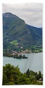 Village Of Talloires On The Banks Of Lake Annecy Beach Towel