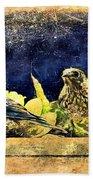 Vintage Bluebird Print Beach Towel