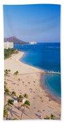 Waikiki Beach And Diamond Head Beach Towel
