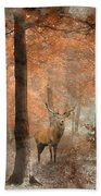 Watercolour Painting Of Beautiful Image Of Red Deer Stag In Fogg Beach Towel