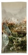 Watercolour Painting Of Beauttiful Close Up Of New Forest Pony H Beach Towel