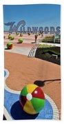 Wildwood's Sign, Boardwalk Wildwood, Nj. Copyright Aladdin Color Inc. Beach Towel