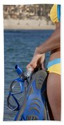 Woman Getting Ready To Go Snorkeling Beach Towel