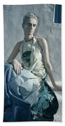Woman In Ash And Blue Body Paint Beach Towel