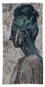 Woman In Bronze Statue Look With Patina Body Paint Beach Sheet