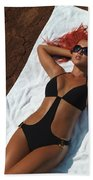 Woman Sunbathing Beach Towel