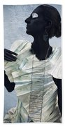 Woman With Black Boby Paint In Paper Dress Beach Towel