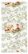 Woodland Fairytale - Animals Deer Owl Fox Bunny N Mushrooms Beach Towel