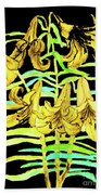 Yellow Lilies, Hand Drawn Painting Beach Towel