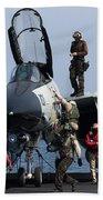 An F-14d Tomcat On The Flight Deck Beach Towel by Gert Kromhout