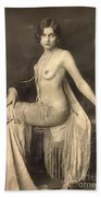 Digital Ode To Vintage Nude By Mb Beach Towel