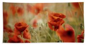 Summer Poppy Meadow Beach Sheet