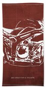 2011 Speed Triple Triumph Motorcycle Blueprint Red Background Artwork Christmas Gift For Men Beach Towel