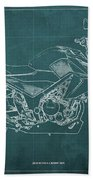 2018 Honda Cb300f Abs Blueprint Green Background Beach Towel