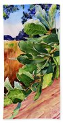 #203 Blue Oak Leaves 2 Beach Towel