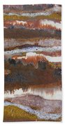 21. V2 Rustic Brown, Red And White Glaze Painting Beach Towel