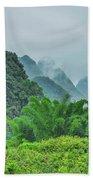Karst Mountains Rural Scenery Beach Towel