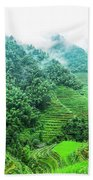 Mountain Scenery In The Mist Beach Towel