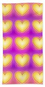 25 Little Yellow Love Hearts Beach Towel