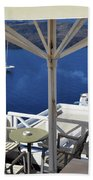 28 September 2016 Restaurant By The Aegean Sea  In Santorini, Greece  Beach Towel