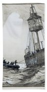 A Lightship's Xmas Dinner Beach Towel