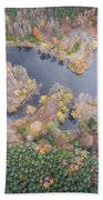Aerial View Of The Forrest With Different Color Trees.  Beach Towel
